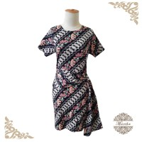 Dress batik slit pita di perut motif parang