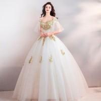 Gaun Pengantin 1810005 Putih Sabrina Lengan Siku Wedding Gown