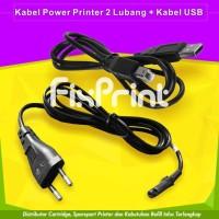Kabel Power Printer Canon HP Epson 2 Lubang & Kabel USB Computer