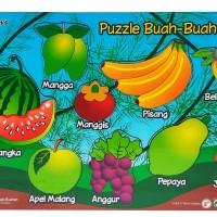 Mainan Anak Kayu Edukasi / Edukatif - Puzzle Sticker Seri Buah-buahan