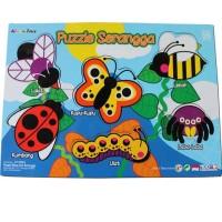 Mainan Anak Kayu Edukasi / Edukatif - Puzzle Sticker Seri Serangga