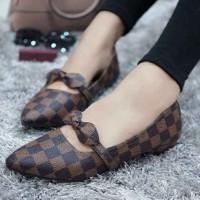 Mz Sepatu Wanita Flat Shoes Slip On Kulit Kotak-Kotak Variasi Pita