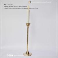Tempat Lilin Polos L (24cm) Kuningan + Lilin Elektrik LED - Candle