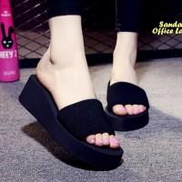 Sandal Office Lady BLACK (Tinggi 5.5 cm ,enteng, nyaman dipakai)