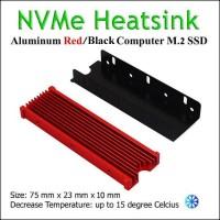 Heatsink M.2 SSD NVMe SATA Cooler Warship Design (RED)