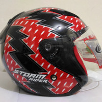 HELM GIX X - RAY SERIES STORM RIDER BLACK / RED HALF FACE