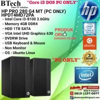 HP PRO 280 G4 MT - HPDT4MD72PA Core i3-8100/4GB/1TB/DOS/3YR PC ONLY