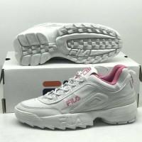 Sepatu Fila Disruptor II Putih Pink Sneakers Casual Sport Wanita Impor
