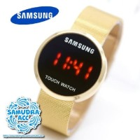 Jam Tangan Unisex Samsung Watch LED Rantai Pasir Gold