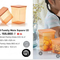 Tupperware 1101 Family Mate Square (2) 510ml dan 800ml
