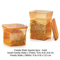 Tupperware Family Mate Square 2pcs - Gold Toples Kue