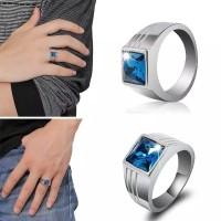 Cincin silver hias batu safir warna biru elegan