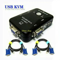 KVM Switch USB 2 Port Manual + 2 Pcs Kabel KVM