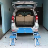Meja Kursi Lipat Portabel Warna Biru & Merah, Cocok Untuk Cafe,