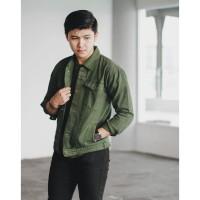 PROMO Jaket jeans levis oversize green army / hijau tua unisex