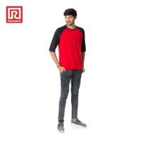 Ramayana - AR89 - Kaos Tshirt Raglan 3/4 Star Merah