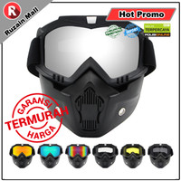 Google Mask Kaca Helm Retro Goggle Mask Moto cross Goggle Mask Trail