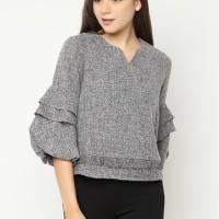 Cammomile Blouse Fashion Atasan Wanita SP1804042 rumbai lengan susun