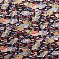 chirimen kain jepang asli hitam motif bambu kipas setengah meter