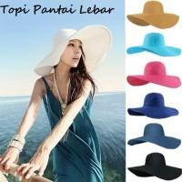 HO22529W Jual Topi Pantai Wanita Sun Beach Hat Big Colour Murah
