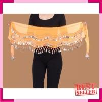 Belly dance belt sifon koin silver aksesoris tari senam fitness zumba