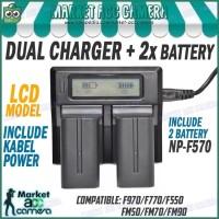 LCD DISPLAY DUAL CHARGER + 2x BATTERY NP-F570 (MC1500/SD1000/TRV58)