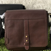 Tas Cowok Pria Fossil Travis Man Bag Dark Brown Authentic 3a1f67c0ee