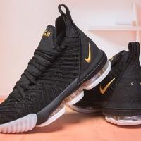 7cbd0fee8fbe5 Sneakers Sepatu Basket Premium Murah Nike Lebron 16 Black Gold
