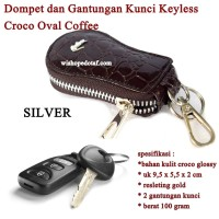 Sarung kunci Resleting Oval CROCO COFFEE