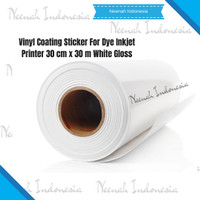 Vinyl Coating Sticker For Dye Inkjet Printer 30 cm x 30 m White Gloss