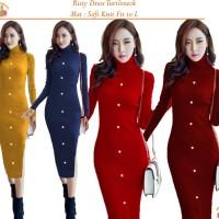 Harga bintang rajut indo dress risty turtleneck button dres wanita | antitipu.com