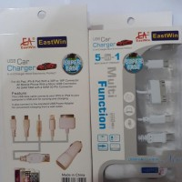 PROMO USB CAR CHARGER 5 IN 1 MULTI FUCTION DISKON