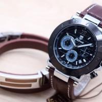 Jam Tangan Pria Tetonis Set Gelang Body Silver Original - Hitam