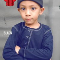 Baju Koko Anak Kaos | Baju Muslim Koko Bahan Kaos Anak Premium - Hitam