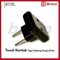 BROCO 810L - Tiga Cabang Tanpa ARDE - Three Way Adaptor Plug - Black