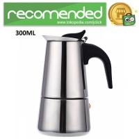 Espresso Coffee Maker Moka Pot Teko Stovetop Filter 300ml - Silver