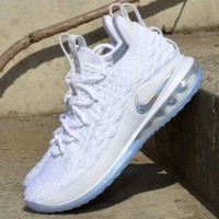 03d9c6a907a4 Nike LeBron 15 Low White Silver Sepatu Sneakers Basket Pria PREMIUM