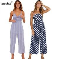7abfa6ba0cf New Ursohot Sexy V Neck Sleeveless Striped Boho Jumpsuit Women 2018