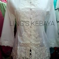 Terlaris Kebaya Encim Modern Spesial Broken White Cotton Tangan 3/4 -