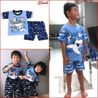 Baju Setelan Anak SHARK Stelan Pakaian Anak Bayi Keren Murah MARUNO