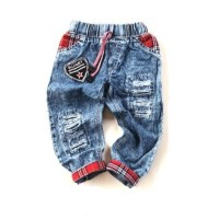 Celana Jeans Panjang Anak | Jeans Ripped Snow Wash Usia 5 - 6 tahun
