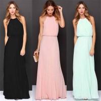 Long Dress Maxi Model Lipit Tanpa Lengan Bahan Sifon untuk Musim Panas