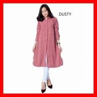 Baju Gamis Wanita Terbaru Tunik Jumbo Blouse Muslim Putih Deva Long