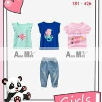 181- 426 Baju setelan anak perempuan remaja Jeans anak tanggung