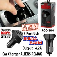 SAVER REMAX RCC304 3 USB ALIENS / RC-C304 CHARGER AKI MOBIL MOTOR 3USB