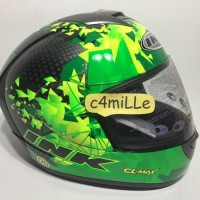 HELM INK CL MAX #6 BLACK GREEN FLUO FULL FACE
