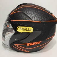 HELM INK DYNAMIC MOTIF 2 GUN METAL DOFF ORANGE HALF FACE