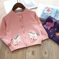 sweater anak rajut cardigan jacket jaket cute horse for girl