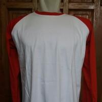 Kaos raglan panjang body putih L