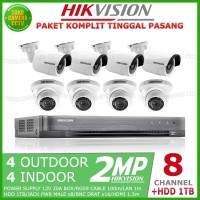 PAKET CCTV HIKVISION 8 CHANNEL 2MP 4 OUTDOOR 4 INDOOR HDD 1TB